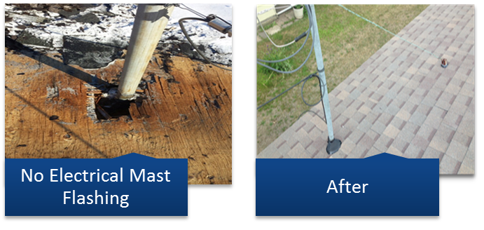 Electrical Mast Flashing Roof Repair