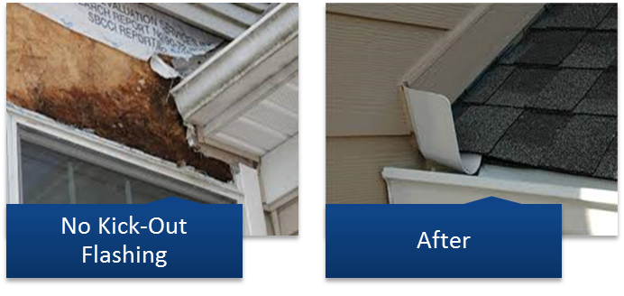 Roof Repair of No Kick Out Flashing